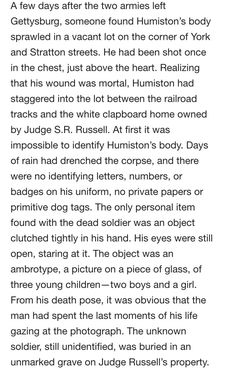Finding Amos Humiston with the picture of his children clinched in his hands