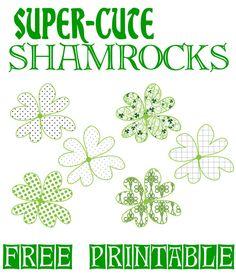 Super Cute Shamrocks: Another Bold Free Printable!  Hand-drawn shamrocks with fun patterns.