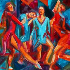 "Daily Painters Abstract Gallery: Abstract Dancers Figurative Jazz Art Painting ""Jazz Dance"" by Texas Artist Debra Hurd"