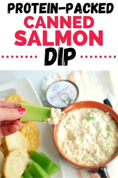 Searching for canned salmon recipes? Youll love this canned salmon dip! Its a healthy dip recipe thats got protein and fatty acids and is a perfect snack for the family. Canned Salmon Recipes, Fish Recipes, Seafood Recipes, Appetizer Recipes, Lunch Recipes, Dinner Recipes, Appetizers, Healthy Dip Recipes, Healthy Dips