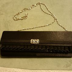 Fancy Black Evening Purse Parties Ladies w/Class Black with beautiful Crystal slide and long silver chain strap. No damage whatsoever. Mint condition. Bags Clutches & Wristlets