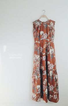 Brown floral maxi dress perfect for wedding party in the garden by SABAIJAIs on Etsy