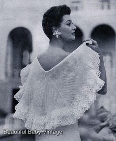 Vintage 1950 CROCHET PATTERN Ladies Vogue Circular Shawl Solomon Knot 2 Ply COPY