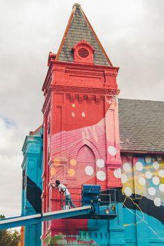 Modern art covered church near Washington DC