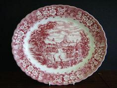 Red Transferware Platter by British Anchor.