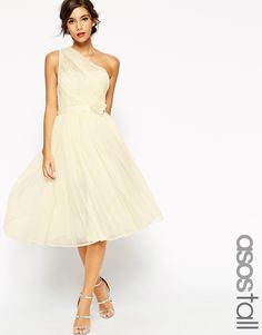 ASOS TALL WEDDING Mesh One Shoulder Corsage Dress