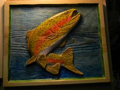 Relief carving of Rainbow Trout - by Richard549 @ LumberJocks.com ...; this pinner's comment:  I like the fish; I would have toned down the colors a bit....