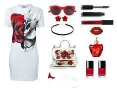 """red magic"" by bluediamond3 ❤ liked on Polyvore featuring McQ by Alexander McQueen, adidas, Dolce&Gabbana, Yves Saint Laurent, Smashbox, Chanel, Lime Crime and Lolita Lempicka"