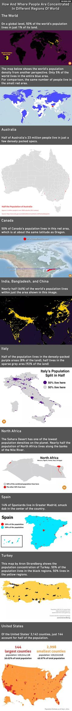 These Maps Show How Much Of The World's Population Occupies So Little Of Its Land. What Can We Do On The Unoccupied? - 9GAG