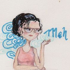 I decide to practice (and to accept the bribe of a friend) to start the #30DrawingChallenge and #dayone #myself with #watercolor and a lot of #meh #illustration #ilustracion #drawing