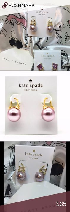 Kate ♠️ Spade Earrings Kate Spade ♠️ Shine On Bauble Faux Pink Fuchsia Pearl Leverback Drop Earrings kate spade Jewelry Earrings