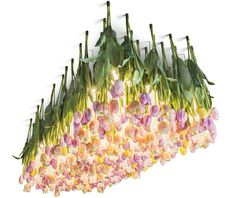 This hanging glass chandelier has been decorated with artificial rose-coloured tulips