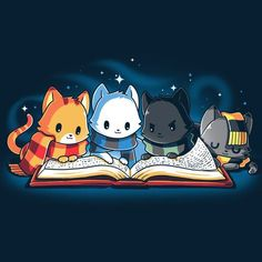 Books are Magic T-Shirt TeeTurtle Blue t-shirt featuring 4 different colored cats reading a book with sparkles behind them Open a book and get lost in the magic that unfolds before your eyes Harry Potter Tumblr, Harry Potter Fan Art, Harry Potter Anime, Magia Harry Potter, Cute Harry Potter, Mundo Harry Potter, Harry Potter Drawings, Harry Potter Pictures, Harry Potter Fandom