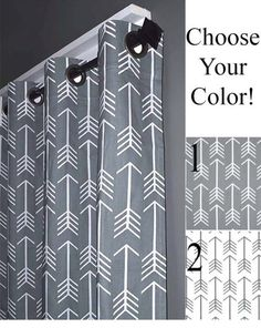 """FREE SHIPPING Grey Arrow Grommet Curtains - Two Curtain Panels You Pick the Size- 50"""" Wide x 50, 60, 72, 84, 90, 96, 108 or 120"""" Long by DesignerPillowShop on Etsy https://www.etsy.com/listing/191527435/free-shipping-grey-arrow-grommet"""
