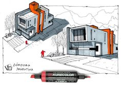 Architectural flow: Surrealist home illustrations by Neyra - Skizzieren Architecture Design, Architecture Concept Drawings, Architecture Sketchbook, Casas Containers, House Sketch, Sketch Design, Building Design, Diy Paper, Paper Crafts
