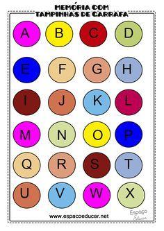 Para montar o jogo da memória com tampinhas de garrafa você precisará de 26 tampinhas para as letras e 26 tampi...