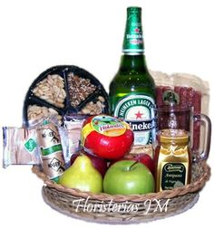 Our Gold Gift Basket brings the golden hues of a classic Heineken lager beer with a variety of delicacies from around the world. Perfect Gift basket for a party or small gathering of friends. Holiday Gift Baskets, Holiday Gifts, Canned Peaches, How To Make Sausage, Sources Of Vitamin A, Red Apple, Fresh Fruit, Special Gifts, Flower Arrangements