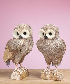 Look at this #zulilyfind! Standing Sparkle Owl Figurine Set #zulilyfinds