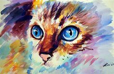 my cat watercolors - Media - Artist Daily Painting Fur, Feather Painting, Animal Paintings, Animal Drawings, Tatto Cat, Watercolor Cat, Wow Art, Cat Drawing, Cat Love
