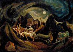 Artist: Jackson Pollock Title: Going West  Start Date: 1934 Completion Date:1935 Style: Expressionism Genre: figurative Technique: oil Material: fiberboard Dimensions: 38.3 x 52.7 cm