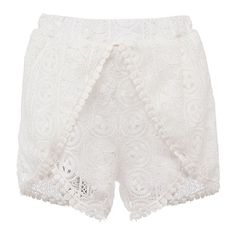 Crochet Overlay Runner Shorts (270.200 IDR) ❤ liked on Polyvore featuring shorts, white, crochet lace shorts, high waisted stretch shorts, high rise shorts, elastic waist shorts and white scalloped shorts