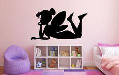 """Fairy Wall Decal - 27"""" x 47"""" Fairy Silhouette Vinyl Decal - Fairy 4"""