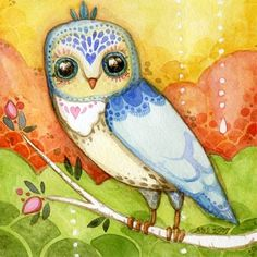 beautiful owl illustration by beatrice Owl Illustration, Illustrations, Art Fantaisiste, Wal Art, Owl Always Love You, Beautiful Owl, Wise Owl, Arte Pop, Whimsical Art
