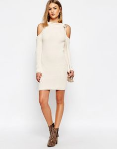 Image 4 of Daisy Street Halter Neck Knit Rib Dress with Cold Shoulder