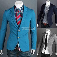 Men's Fit Two Button suit Coat Jacket Blazers #CNdirect