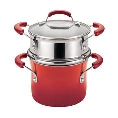 Rachael Ray Hard Enamel Nonstick 3-Quart Covered Steamer Set, Red Gradient