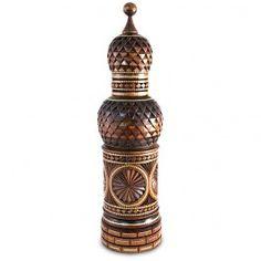 Kremlin Carved Wine Bottle Holder (small, dark) | From Russia | S-109396