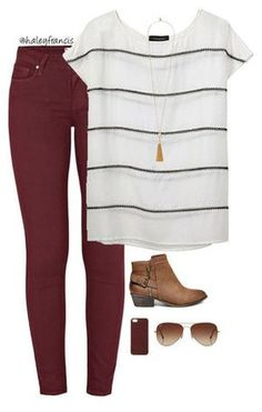 Wide stripes The post Burgundy skinny jeans appeared first on Casual Outfits. Casual Work Outfits, Work Casual, Cute Outfits, Shop This Look Outfits, Emo Outfits, Fall Winter Outfits, Autumn Winter Fashion, Winter Wear, Summer Outfits