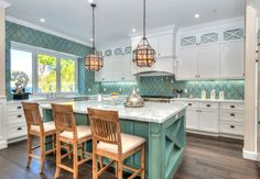 Here's a colorful arabesque backsplash that's quite the alternative to subway tile.