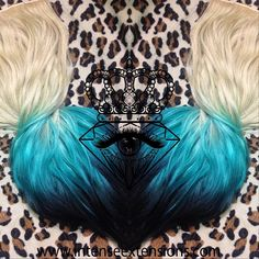 Would you rock it?! A quadruple wefted remy full head set in platinum blonde to a custom color matched turquoise fading into black  available at www.intenseextensions.com