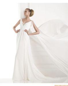 2015 Schlichte Preiswerte Lange Brautkleider aus Chiffon mit Schleppe