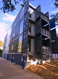 Washington DC's first shipping container apartment building was recently completed, and- despite its high-end look and feel- it's actually quite affordable! Container Homes For Sale, Container Office, Container Shop, Container House Design, Shipping Container Buildings, Shipping Container Home Designs, Shipping Containers, Architecture Design, Sustainable Architecture