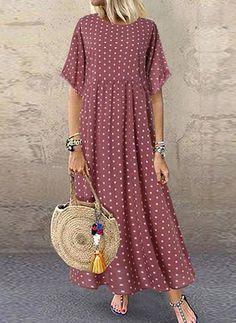 Polka Dot Empire Waist Casual Plus Size Maxi Dress Polka Dot Maxi Dresses, Plus Size Maxi Dresses, Large Size Dresses, Casual Dresses, Fashion Dresses, Short Sleeve Dresses, Summer Dresses, Women's Fashion, Fashion Online