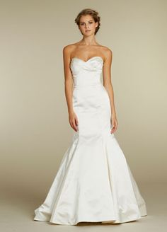 Jim Hjelm - Ivory Silk Faced Satin Trumpet bridal gown, draped empire strapless bodice, sweetheart neckline, chapel train.  http://www.vollesbridal.com