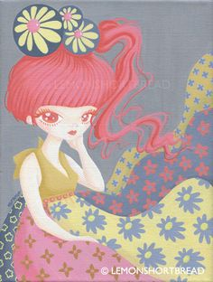 "Original Canvas Painting, Pop Art Surrealism Floral Flowers Illustration, Gray Pink Big-eyed Girl 7 x 9.5"". $350.00, via Etsy."