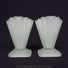 Bagley pair of 4 tall Grantham Art Deco 1930s vintage green glass vases