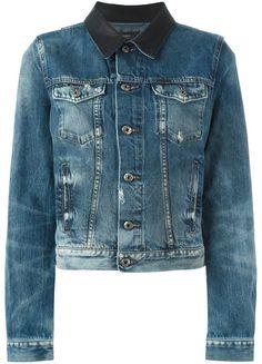 Diesel contrasting collar denim jacket