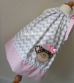 Adorable Sock Monkey Gray/Pink Chevron and polka dot pillowcase dress. Perfect for your baby, toddler, or little girls birthday party.