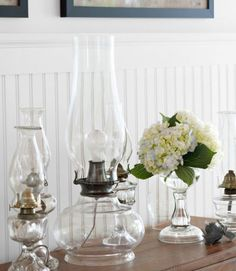 A collection of 19th-century patterned glass oil lamps keep company with a new version wired for electric light. With the help of a rewiring kit ($16.95; leevalley.com), updating a vintage oil lamp is not so complicated. Now that's a bright idea.