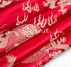 "Fire dragon brocade. Oriental fabric. Chinese Brocade. Width 29"""