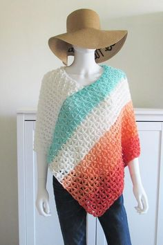 This crochet poncho free pattern has a simple construction that is perfect for beginners. It is made by joining 2 rectangles. It is a quick and easy pattern that runs from woman's size small to plus sizes. Make one for summer or for fall or winter. Crochet Poncho Patterns, Crochet Scarves, Crochet Shawl, Crochet Yarn, Crochet Clothes, Crochet Edgings, Crochet Motif, Crochet Sweaters, Shawl Patterns