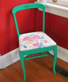 Thrift Store Chair Makeover with vintage tablecloth - sometimes I wish I had no furniture so that I could do crazy stuff like this!