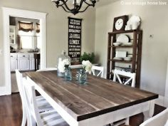 Dining Room Table idea. The shelf in the background could be used by the doorway. I like the look of the wood - see what stain they use.