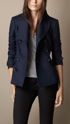 Navy Double-Breasted Pea Coat with Pleat Detail - Image 1