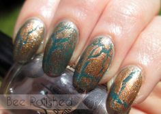 Copper crackle over turquoise/teal