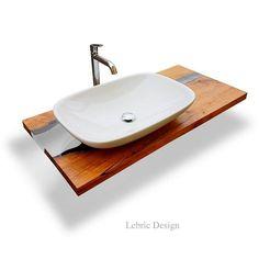 Bancada de lavatório de madeira LEBRÌC DESIGN - MADEIRA E RESINA   Móvel lavatório de resina by ANTICO TRENTINO